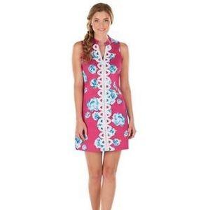 Mudpie Floral Pink Blue Prep Dress Summer M